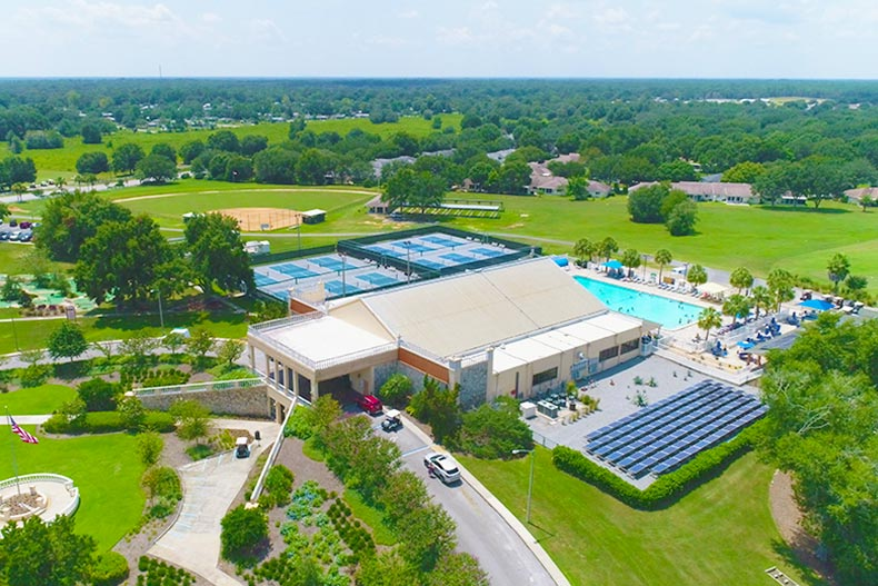 Arial view of the clubhouse at On Top the World in Ocala Florida