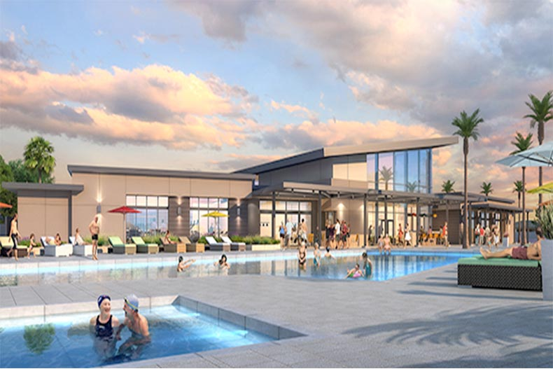 Rendering of the pool and clubhouse of Ovation at Mountain Falls
