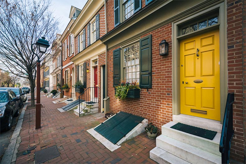 A row of historic brick houses in Society Hill in Philadelphia, Pennsylvania