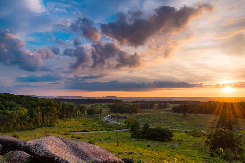 View of a summer sunset from Little Roundtop in Gettysburg, Pennsylvania