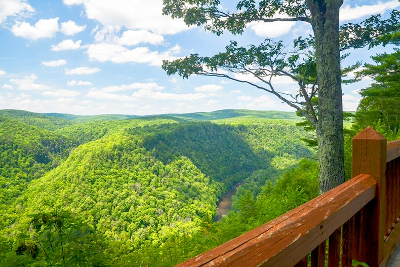 Blue sky over Pine Creek Gorge in North Central Pennsylvania
