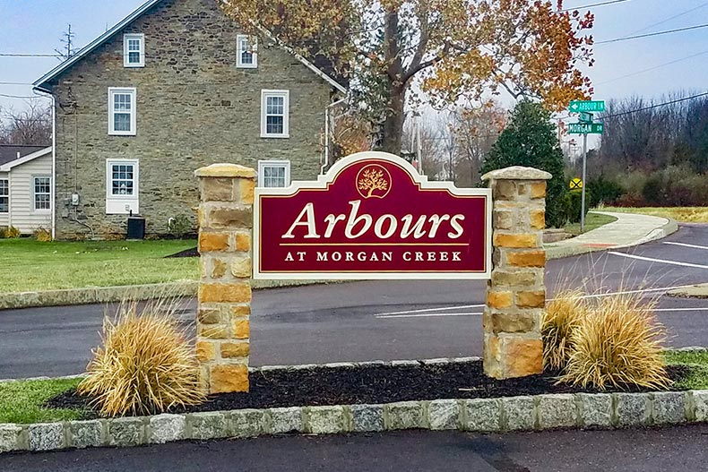 View of the community sign at Arbours at Morgan Creek in Quakertown, Pennsylvania