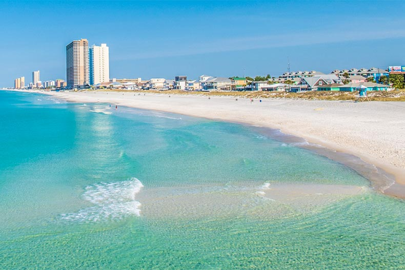 Clear water and Panama City Beach with city in the background