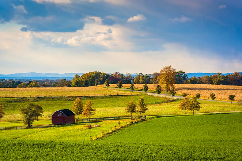 View of farm fields and hills in rural York County, Pennsylvania