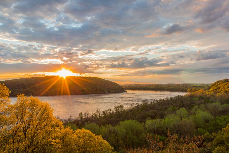 Sunset view of the Susquehanna River in Columbia, Pennsylvania