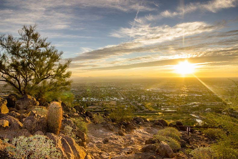 A sunrise view of Phoenix, Arizona