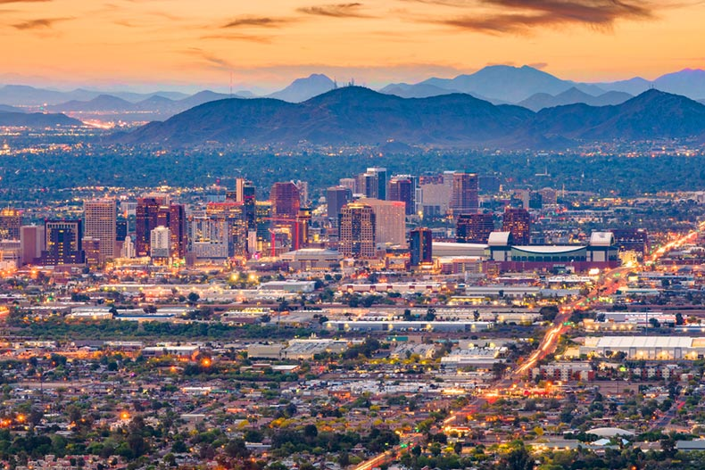 The Downtown Phoenix cityscape at dusk