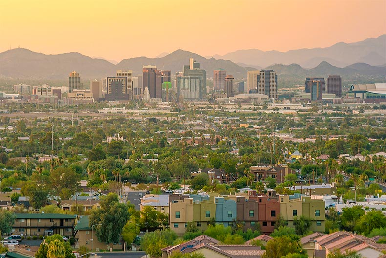 Skyline of Downtown Phoenix as sunset with greenery in foreground and mountains in the background