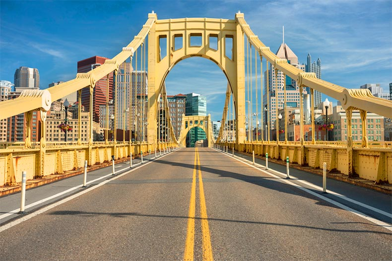 The Roberto Clemente Bridge in Downtown Pittsburgh, Pennsylvania