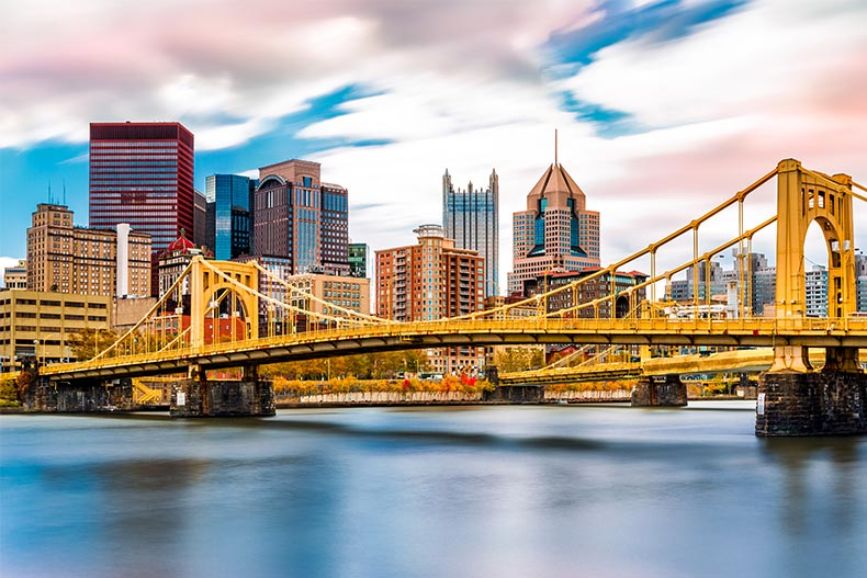 The Rachel Carson Bridge (aka Ninth Street Bridge) on the Allegheny River in Pittsburgh.