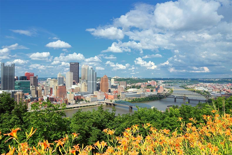 The skyline of Pittsburgh, Pennsylvania with the Allegheny and Monongahela Rivers