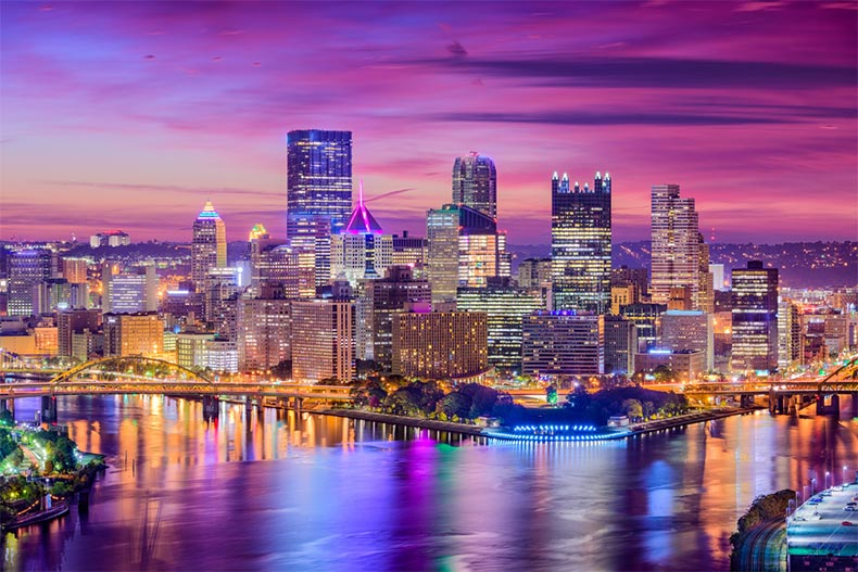 View of the skyline of Pittsburgh, Pennsylvania at sunset