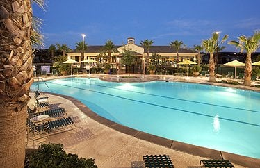 Outdoors at Solera Kern Canyon, residents can go for a swim in the heated pool or relax in the spa.