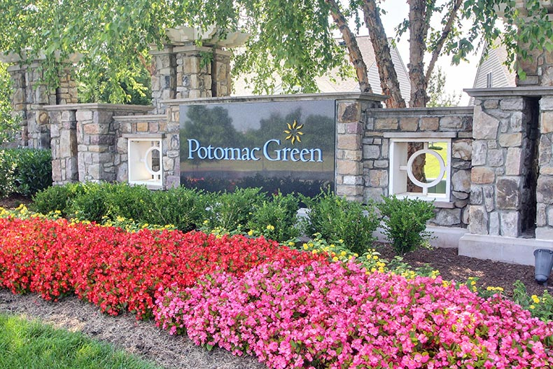 Colorful flowers in front of the community sign for Potomac Green in Ashburn, Virginia