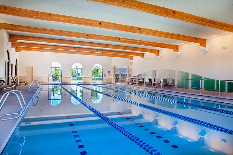 Interior view of the indoor swimming pool at Province in Maricopa, Arizona
