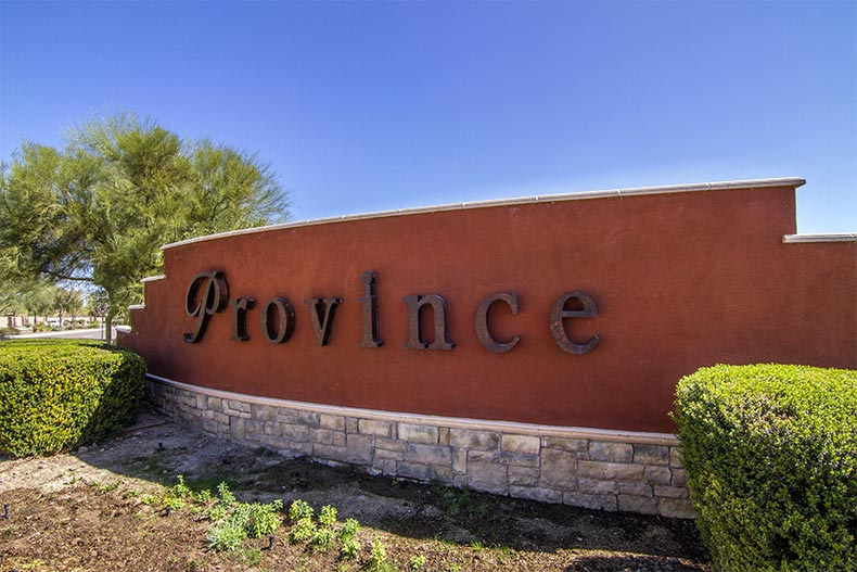 The community sign for Province in Maricopa, Arizona