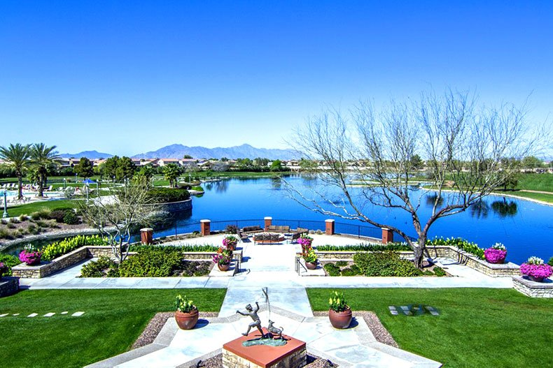 The scenic lake and landscaping in the Province community in Maricopa, Arizona.