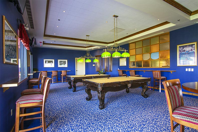 Interior view of the billiards room at Province in Maricopa, Arizona