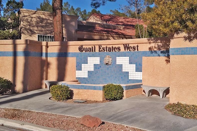 The community sign for Quail Estates West in Las Vegas, Nevada