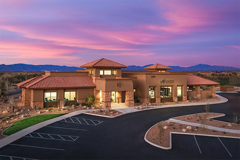Purple sunset over Quail Creek clubhouse in Green Valley, AZ