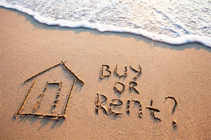 sunny beach with question buy or rent? in sand
