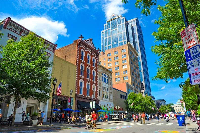 A blue sky over a street with pedestrians in Downtown Raleigh, North Carolina