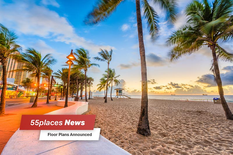 """55places News: Floor Plans Announced"" banner over a beach at sunset in Palm Beach County"