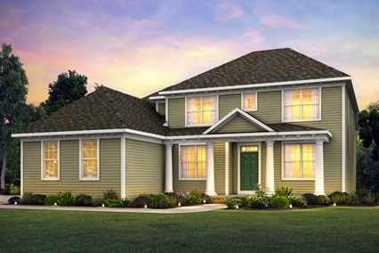 A rendering of a model home for Pulte's newest community in New Albany, OH.