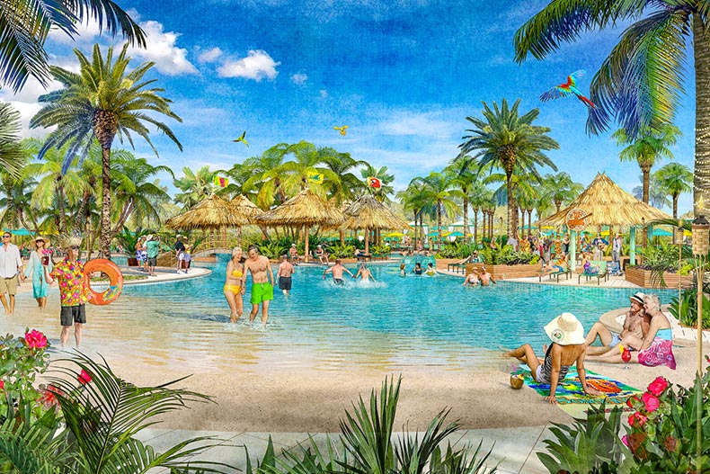 Rendering of a resort-style pool at a Latitude Margaritaville community