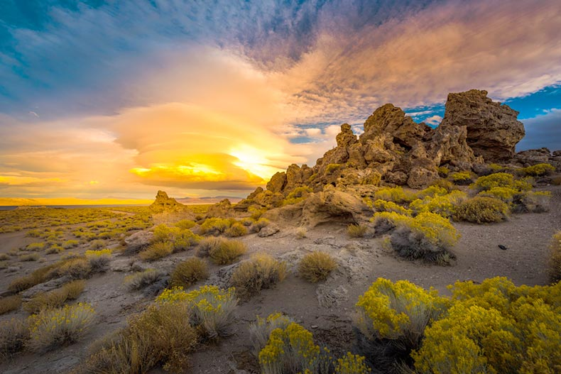 View of a sunset behind rock formations at Pyramid Lake near Reno, Nevada