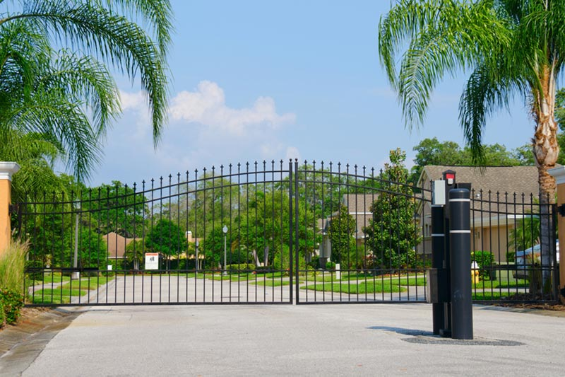 gate in front of active adult community.