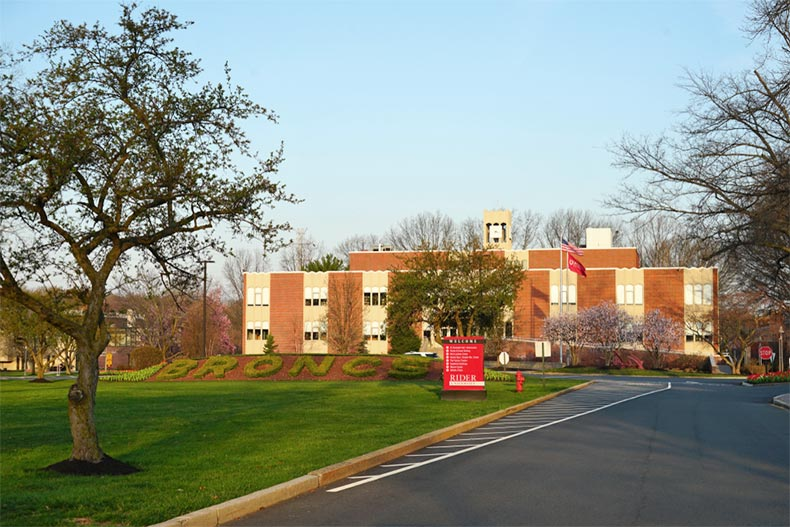 View of the entrance to Rider University in Mercer County, New Jersey.