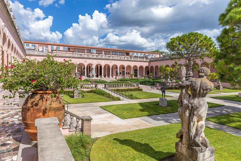 View of the grounds of the Ringling Museum complex in Sarasota, Florida