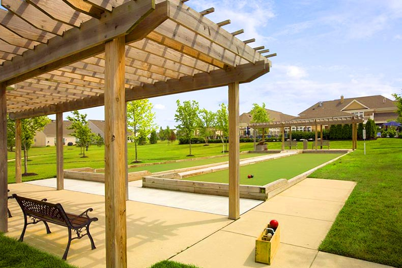 The outdoor bocce ball court at River Pointe in Manchester, New Jersey
