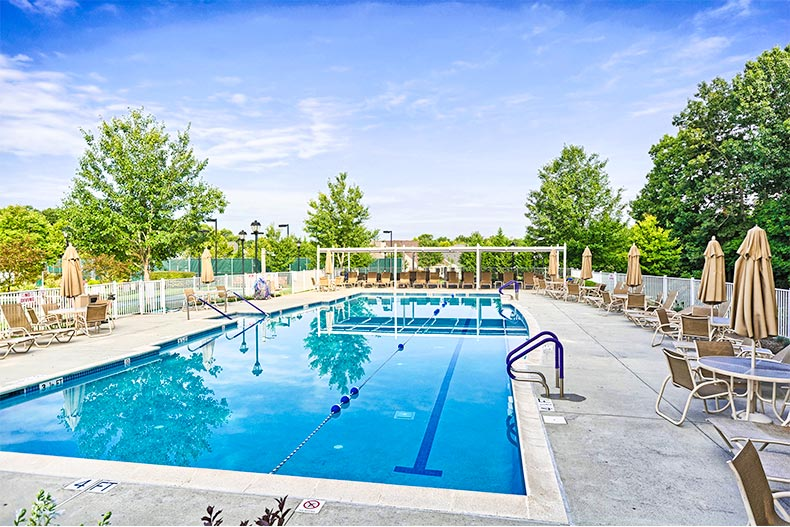 Outdoor pool and patio in Riviera at East Windsor