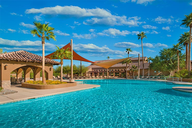 Resort-style pool on a clear day at Robson Ranch in Eloy, Az
