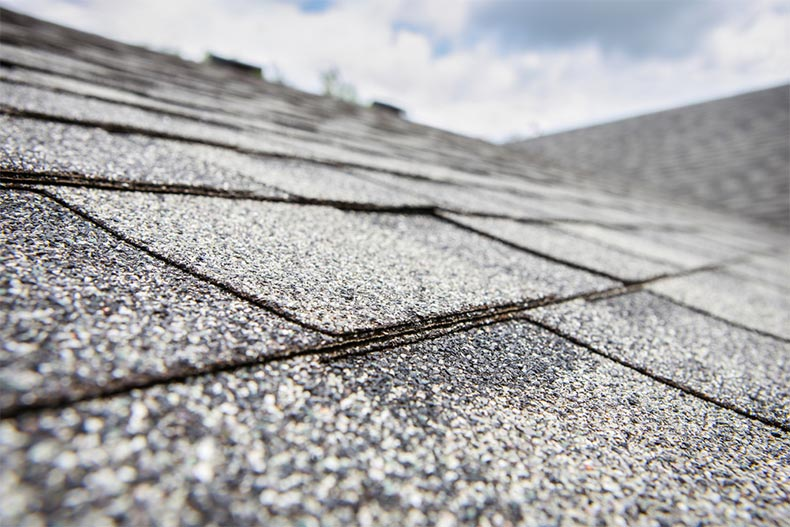 A closeup on composite roof shingles