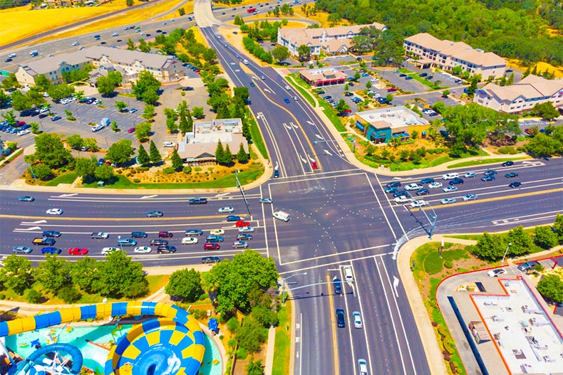Aerial view of an intersection in Roseville, California