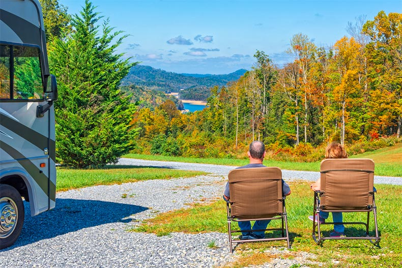 couple enjoying view near their RV