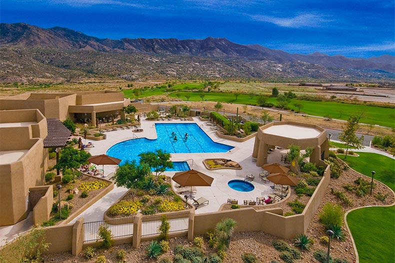 Arial view of the pool and clubhouse at SaddleBrooke in Tucson Arizona