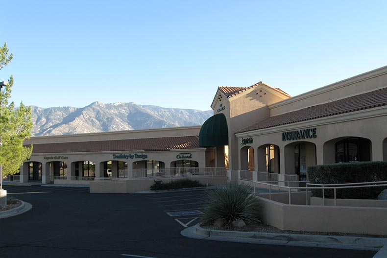 View of the mountains from outside a community building at SaddleBrooke in Tucson, Arizona
