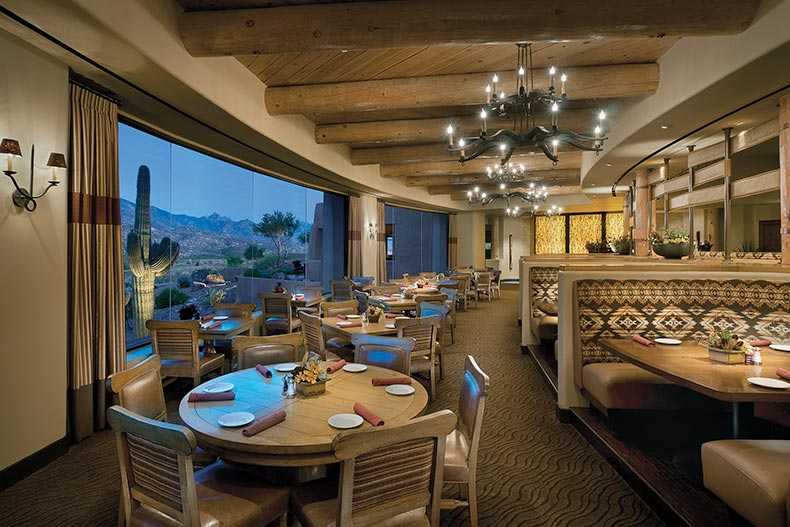 Interior view of the restaurant at SaddleBrooke in Tucson, Arizona