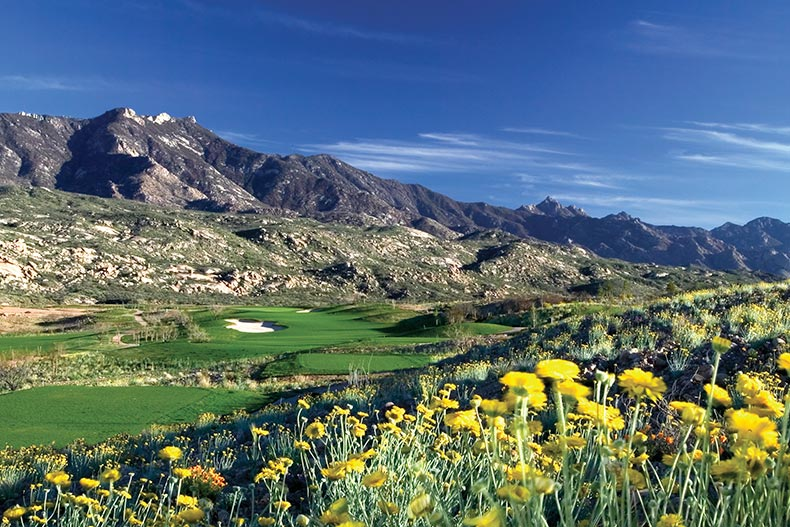 A golf course in the mountains at SaddleBrooke in Tucson, Arizona