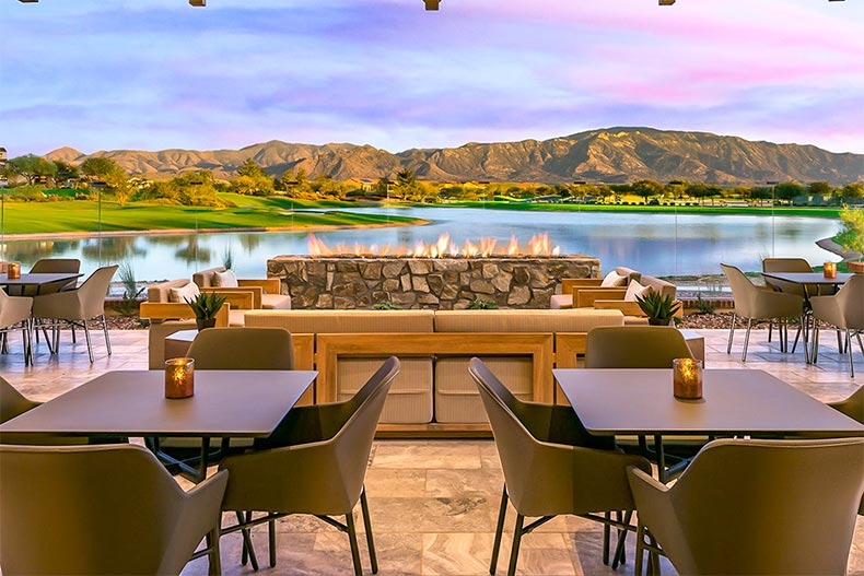 An outdoor dining area at SaddleBrooke Ranch in Oracle, Arizona