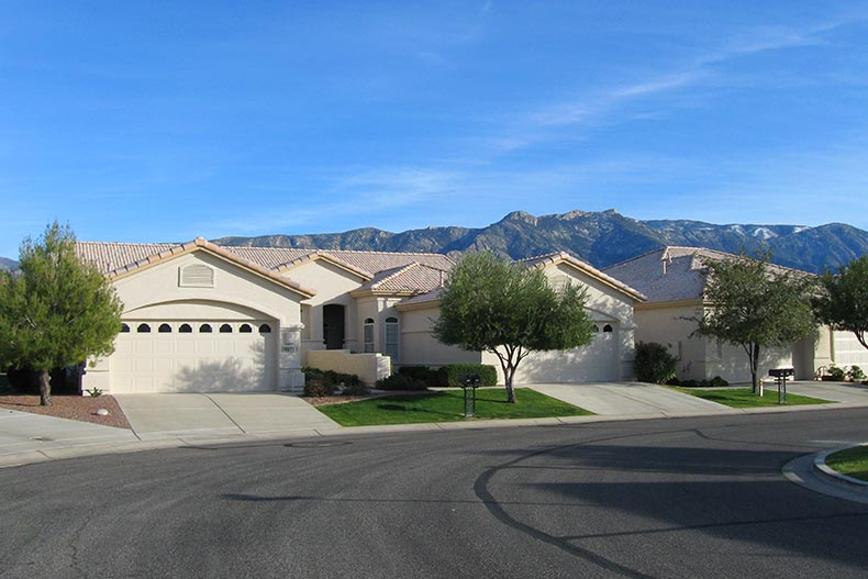 Exterior view of homes on a street in SaddleBrooke Ranch in Oracle, Arizona