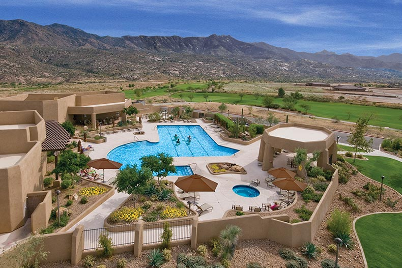 Aerial view of the outdoor pool at SaddleBrooke in Tucson, Arizona