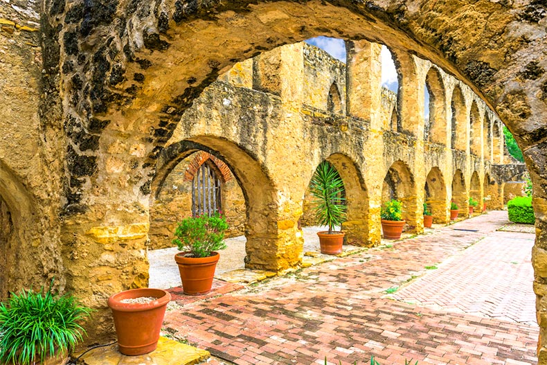 Courtyard of Mission San Jose in San Antonio, TX