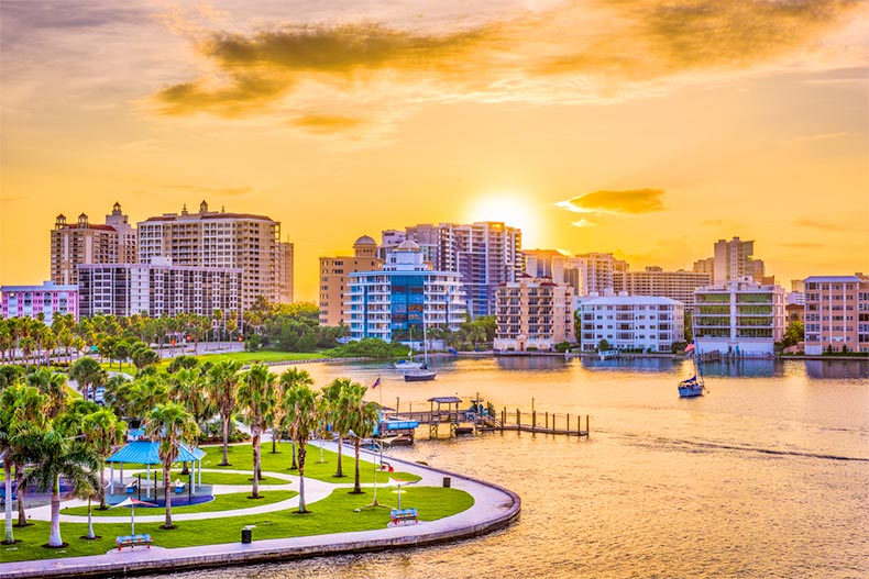 Sunrise on the bay with a view of the downtown skyline in Sarasota, Florida
