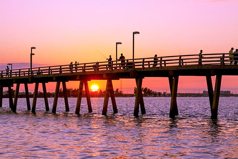 Sunset and pier in Sarasota, Florida