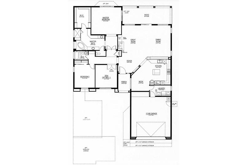 Floor plan layout for the Savino model at Robson Ranch - Arizona in Eloy, Arizona